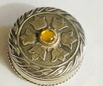 Taxco Mexico 925 Sterling Silver Pill Snuff Trinket Box Yellow Stone Tulips Nice