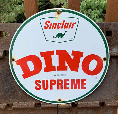 Vintage Sinclair Dino Supreme Porcelain Sign Dealer Gas Oil Pump Plate