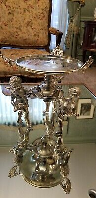 Wilcox Victorian Cherub Silverplate Figural Brides Basket Stand Etched Bird Top
