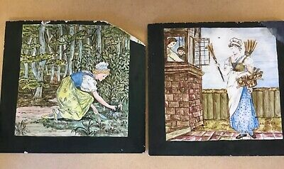 Two Antique Mintons Artists Hand Painted Pottery Tiles Restoration Or Frame 19Th