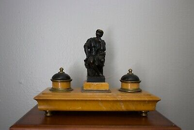 Stunning Antique Bronze and Marble 19th Century Italian Inkwell