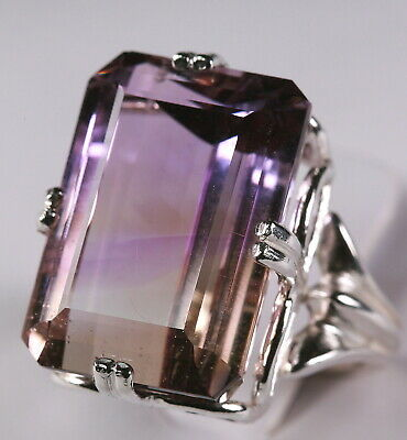Beautiful large 30.0ct natural ametrine in solid silver 925 ring, size 6.5