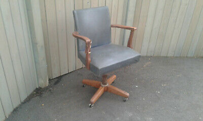 antique oak office / captains / Bankers swivel chair in need of restoration