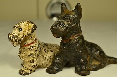 Pair of Antique Cast Iron Dogs Terrier Painted