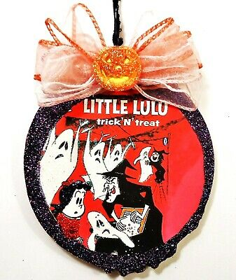 Hand Made   LITTLE LULU WITCH GHOSTS  glittered wood slice Halloween Ornament