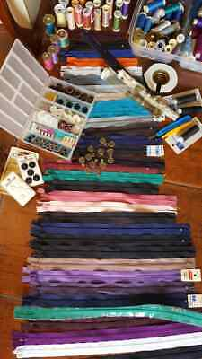 Bulk Sewing Threads, Zippers, Buttons And More. Worth 100s of Dollars. New