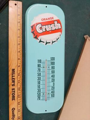 1950s/60s ORANGE CRUSH NEW IN BOX TIN LITHO THERMOMETER SIGN-16x6-VERY NICE!!