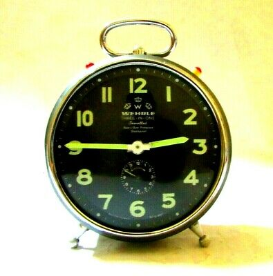 Vintage Alarm Clock WEHRLE【THREE-IN-ONE】shock proof, original, made in Germany