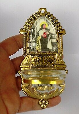 Vtg Holy Water Font Catholic Saint Therese Virgin Tin & Glass Czechoslovakia A-9