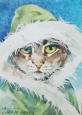 Cat Original ACEO Painting Art Collect Gift Card Hood Xmas Winter Coat Fashion