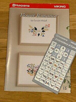 Husqvarna Viking Embroidery d-Card #15 With 42 Page Flower Romance Booklet