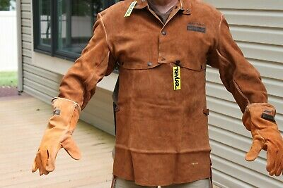 Leather Professional Metal Welding Outfit Gloves Vest Chest Protection Gear