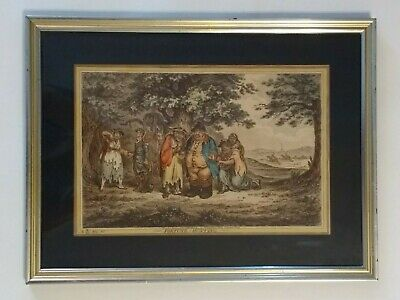 James Gillray  1804 Hand Colored Etching English Satire 'Fortune-Hunting' Framed