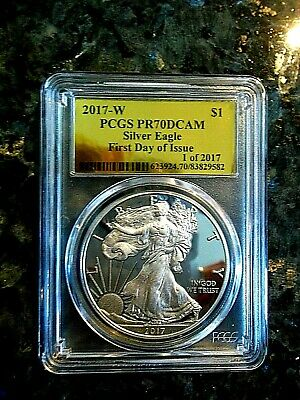 2017-W American Silver Eagle Proof - PCGS PR70 DCAM - 1st Day of Issue Gold Foil
