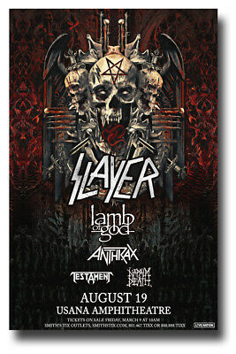 "Slayer Poster Concert 11""X17"" 2018 SLC Lamb of God Anthrax SHIPS SAMEDAY USA"