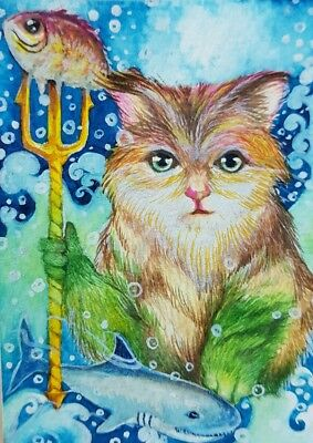 Cat Original ACEO Painting Art Shark Poseidon Fish Aqua Sea Ocean Creative Idea