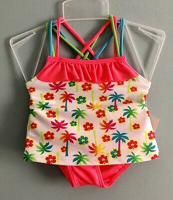 Girls Toddlers 2 Piece Bathing Suit 2T NEW Palm Trees & Flowers Pink White Green