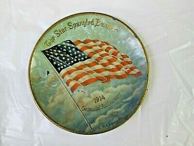 Vintage-The Star Spangled Banner 1914 Centennial Anniversary Tin Tray-C.d. Kenny