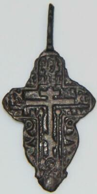 Nice Medieval Byzantine Bronze Cross Holy Medal Pendant Old Orthodox Church 38mm