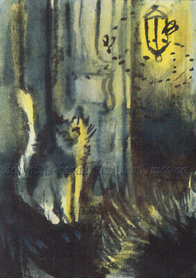 ACEO Halloween31 Original Art Fantasy Cat Moth Doorstep Ink Painting  SMcNeill