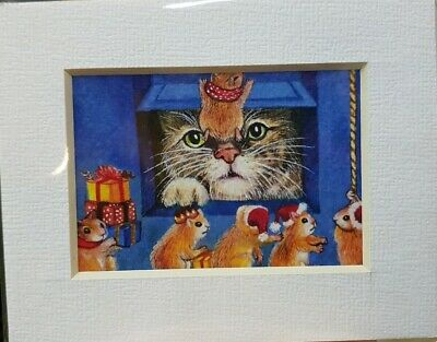 ACEO Print Frame Painting Art Gift Decor Cat Mice Door Home Present Christmas