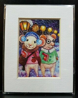 ACEO Print Frame Painting Art ATC Rat Mice Gift Decor Winter School Christmas