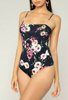 Spaghetti Strap Floral Stylish Casual Navy Hot Bodysuit Sexy Top Extra Small XS