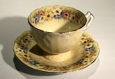 AYNSLEY English Bone China ANEMONES Floral TEACUP Shaped Leaves Hand Coloured