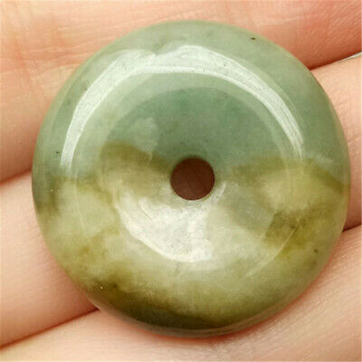 Certified Isabelline  Natural A Jade Jadeite Carved Pendant Safety Circle Donut
