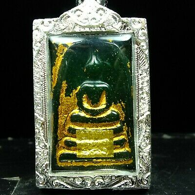 Old Beautyful Antique Phra Somdej Jade Thai Buddha Amulet Real.#3