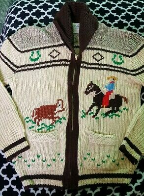 Men's Large Vtg Caldwell Canadian Cowichan Western Sweater