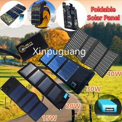 40W/30W/20W/15W USB Charger Foldable solar panel Power Bank Outdoor Camping Hike