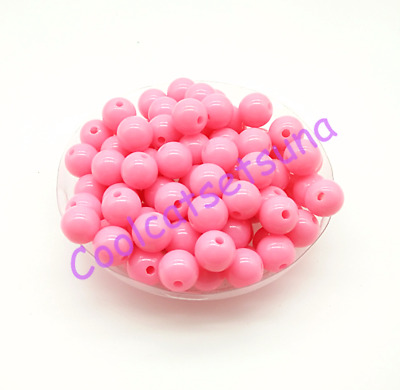 100Pcs 8mm Peach Acrylic Round Smooth Ball Spacer Loose Beads DIY Jewelry