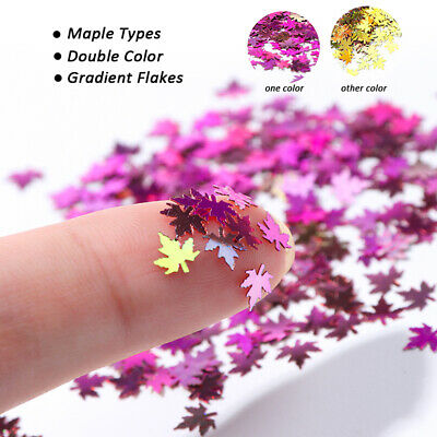 Nail Art Holographic♡Maple♡Leaf Golden Glitter Decor Spangle Shine Leaf Sheet