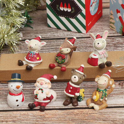 1Pc Miniatures Merry Christmas Santa Claus Snowman Figurine Desktop Ornament~