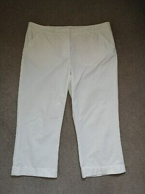 M&S Size 16 White Cotton 3/4 Length Turn Up Hem Trousers