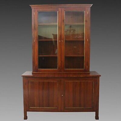 Charles X Showcase Dresser Cabinet Buffet Bookcase in Walnut -Italy 19th