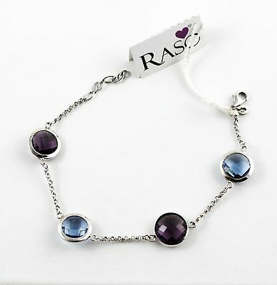 Bracelet Raso Gioielli Silver 925 with Crystals Blue and Purple