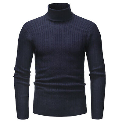 Mens Knitted Slim Roll Turtle Neck Pullover High Collar Warm Jumper Sweater Tops
