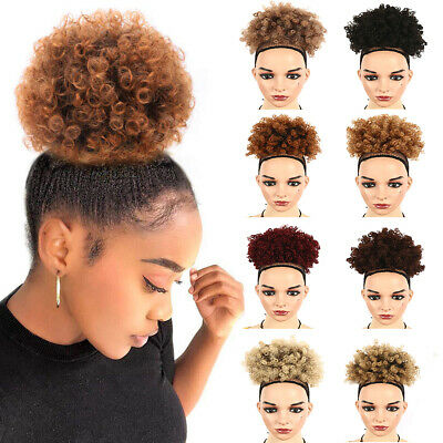 Afro Style Wig High Puff Hairstyle Bun Curl Short Curly Hair