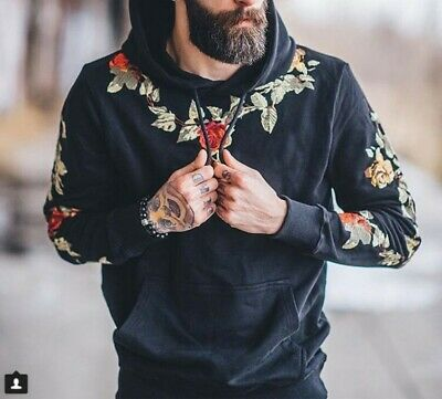 Mens Hooded Floral Embroidery Hoodies Fashion Long sleeve Casual Tops Pullover