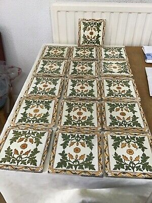 Antique fire surround tiles set of 16 good condition genuine pre 1890s