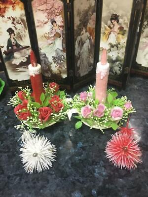 VINTAGE 1960's CHRISTMAS CANDLES (2) - RARE - PLASTIC + 2 PLASTIC DECORATIONS