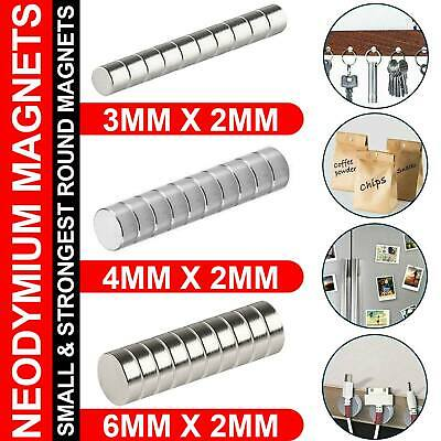 VARIETY of Neodymium Magnets 2mm Thick – Small & Large Powerful Round Disc