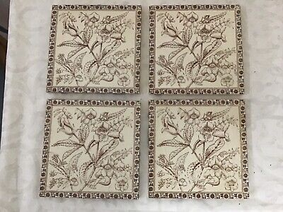 Antique Victorian fire surround tiles set of four genuine 1890 good condition