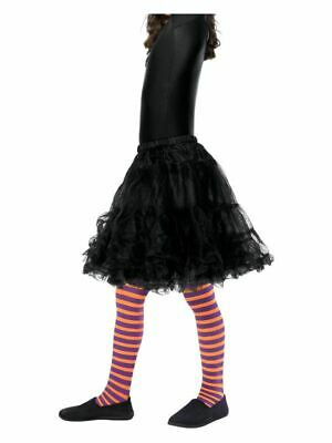 Girls Purple & Orange Striped Wicked Witch Tights Halloween Fancy Dress