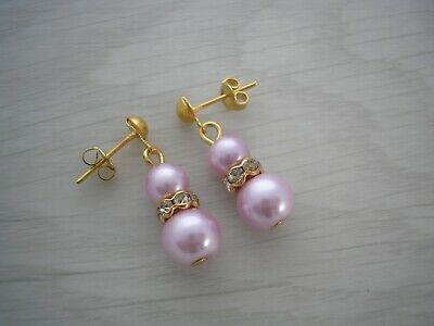 57w Pearl & Diamante Drop Earrings for Women Girls Bride Bridesmaid gift for her