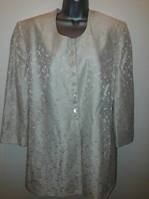 Jacques Vert Womens Cream Floral Print Evening Jacket Size 20