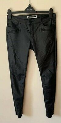 Women's Noisy May Black PVC Wet / Leather Look Coated Skinny Jeans Size 12