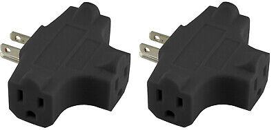 (2) Grounded 3-Way Electric Adapter 3 Outlet AC Wall Plug Triple Power Splitter